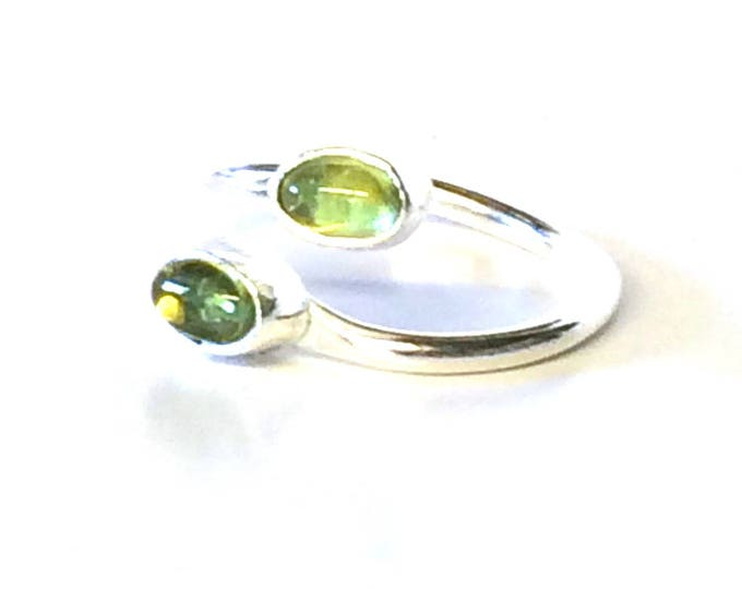 Double Peridot Oval Adjustable Ring