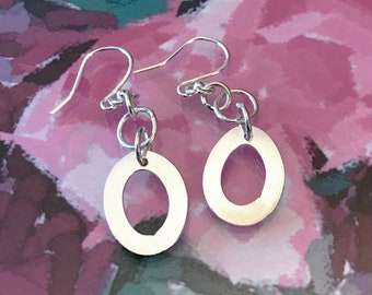 Flat Hoop Drop Earrings