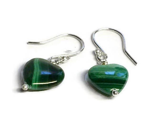 Malachite Heart Drop Earrings