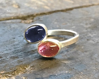 Iolite and Tourmaline Adjustable Ring