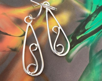 Swirl Loop Design Drop Earrings