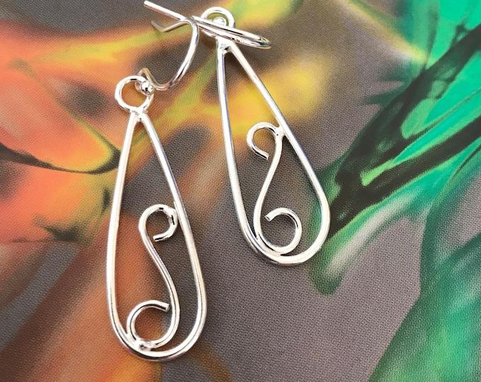 Swirl Loop Design Drop Earrings