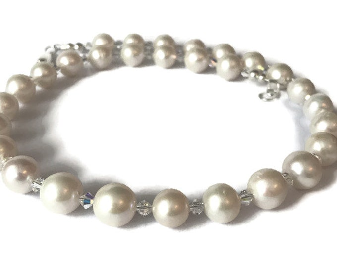 Large AAA Grade Freshwater Pearl & Swarovski Crystal Necklace
