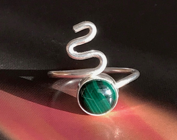 Malachite Snake Adjustable Ring