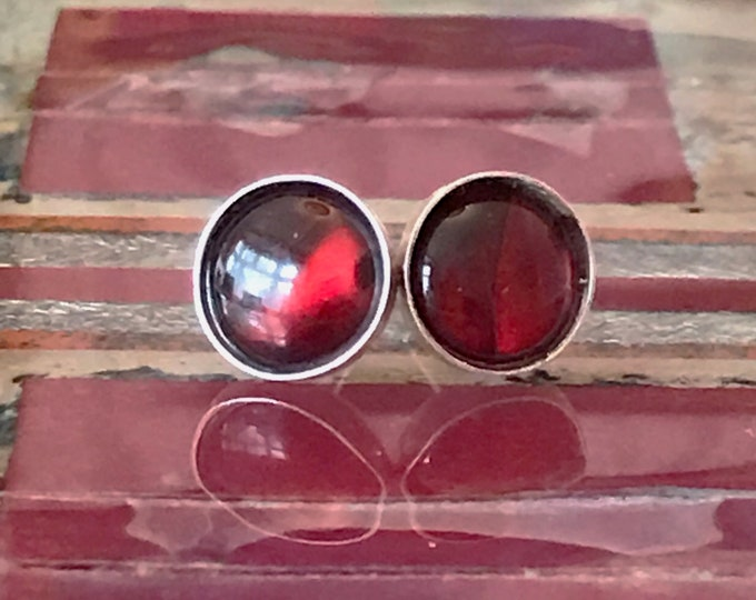 Abalone (Red) Stud Earrings
