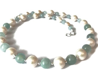 Aquamarine & Freshwater Pearl Necklace