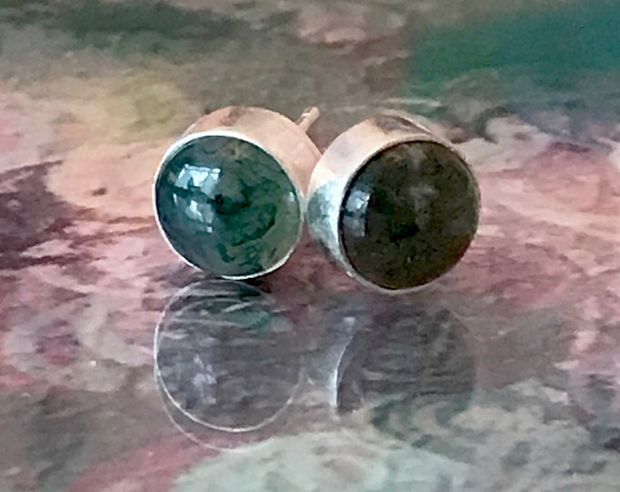 Moss Agate Stud Earrings