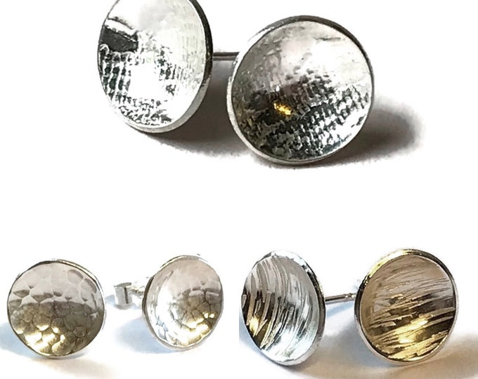 Concave Disc Stud Earrings (Choice of Finish)