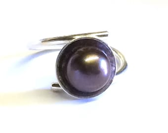 Large AAA Grade Freshwater Pearl (Blue/Black) Adjustable Ring