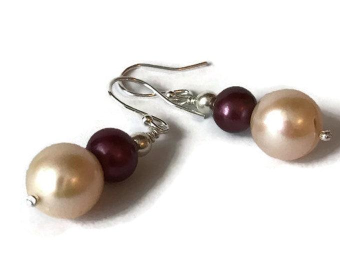 Peach/Burgundy Freshwater Pearl Drop Earrings