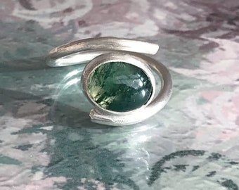 Moss Agate (0val) Adjustable Ring
