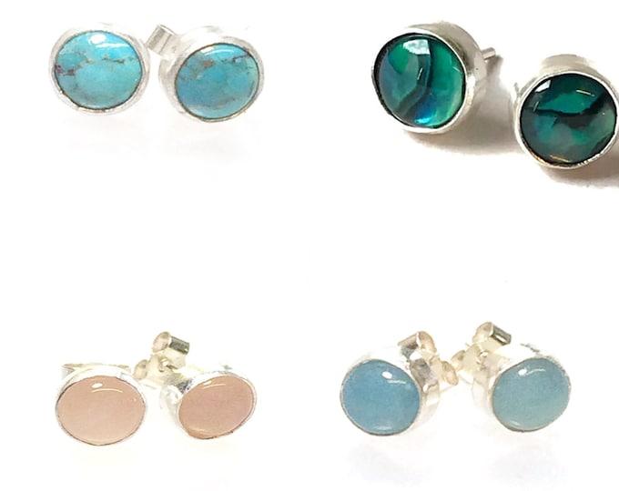 Choice of Semi Precious Stone Set Stud Earrings
