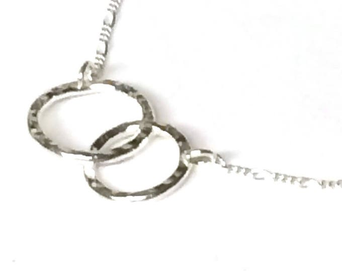 Contemporary Double Ring Hammered Pendant