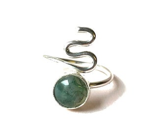 Moss Agate Adjustable Ring