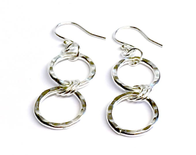 Hammered Finish Ring Drop Earrings
