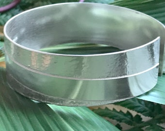 Etched Strip Cuff Bangle (adjustable)