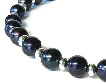 Blue/Black AAA Grade Freshwater Pearl Sterling Disc Necklace