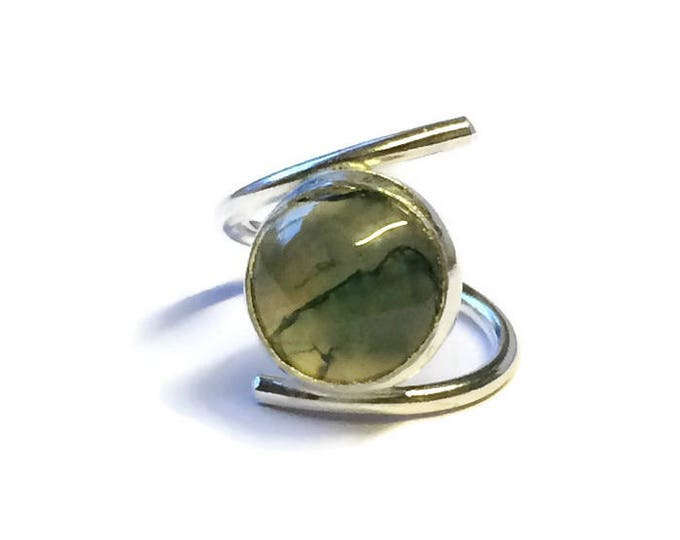 Large Moss Agate Adjustable Ring