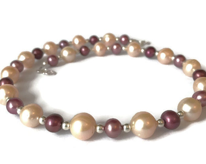AAA Grade pale Peach/Burgundy Freshwater Pearl  Necklace