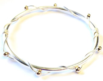 Sterling Silver 9ct Gold Bangle