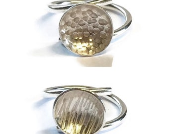 Contemporary Concave Textured Adjustable Ring