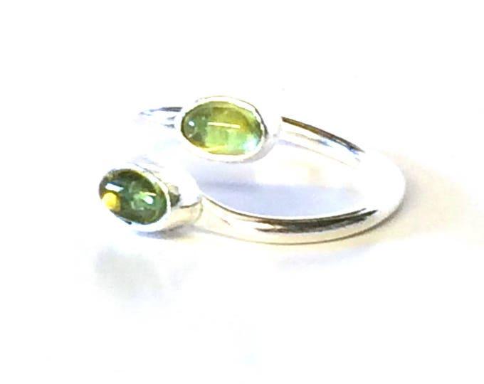 Double Peridot Oval Adjustable Ring