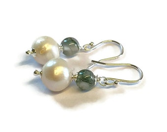 Freshwater Pearl and Moss Agate Drop Earrings