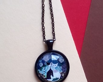 cabochon necklace with cats / stylized necklace with glass pendant / cats image
