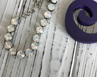 Handmade 15 stone Swarovski Crystal Bracelet, 8mm cup chain in White Opal