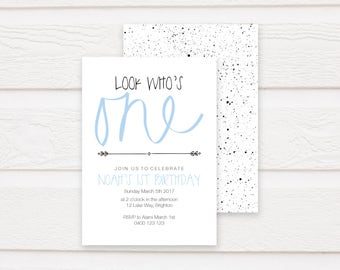 First Birthday Printable Invitation, Invite, Printable, One, Blue