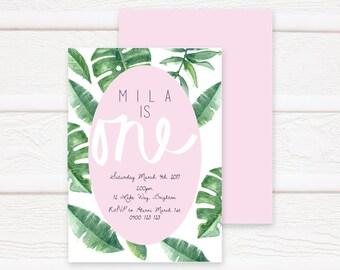 First Birthday Invitation Printable, Birthday, Printable Invite, Foliage Design