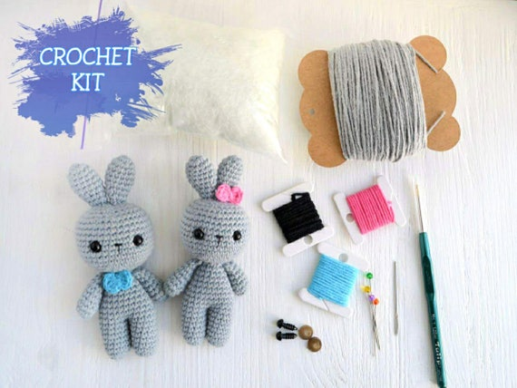 Crochet Toy Diy Kit Amigurumi Pattern Animals For Beginner Etsy