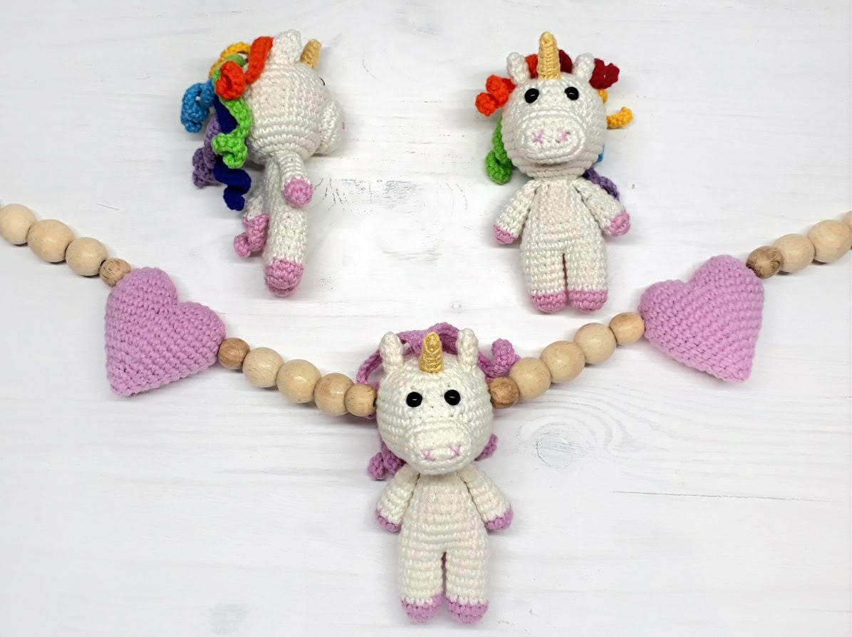 Unicorn baby shower gift mobile Clip toy Baby mobile Stroller