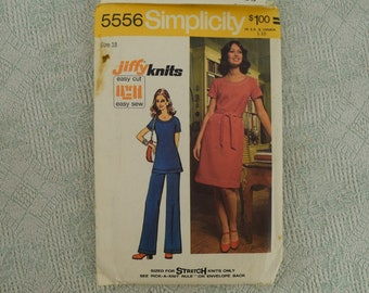 Simplicity Sewing Pattern 5556 dress or tunic and pants from 1973 size 18