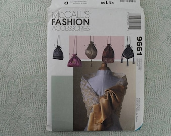McCall's Sewing Pattern 9661 Fashion Accessories Scarf and Drawstring Purse from 1998