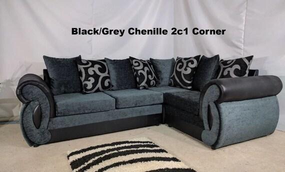Clio 2C1 Corner Sofa In Black & Grey Chenille Fabric