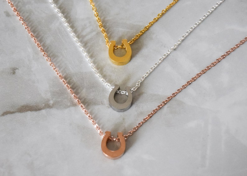 dainty horse shoe Tiny Horseshoe Necklace on Dainty gold and silver horseshoe necklace Rose gold horseshoe necklace Delicate Chain