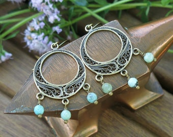 Rustic, Bohemian, ethnic earrings, African turquoise, brass / Silver 925