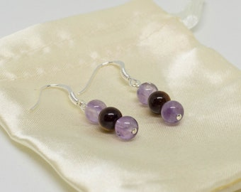 Amethyst earrings / Tiger eye