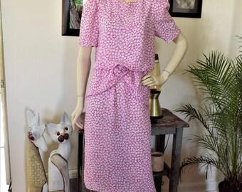 Vintage 80s Peplum Secretary Magenta Floral Dress S/M