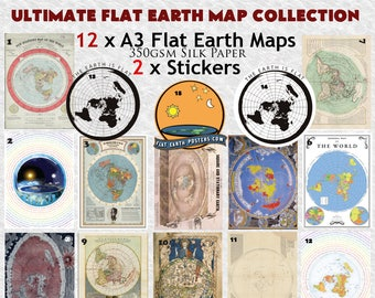 Ultimate Flat Earth Map Collection: 12 A3 posters and 2 Stickers!