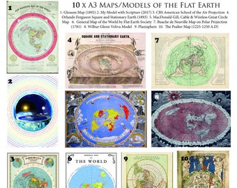 Flat Earth Map Collection 10 X A3 Posters on 170 gsm paper