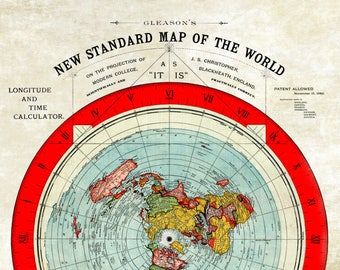 New Flat Earth Map.Flat Earth Etsy