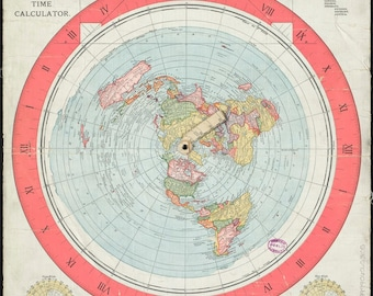 1892 Map Of The World.Flat Earth Map Etsy