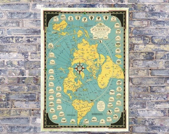 New Flat Earth Map.Flat Earth Map Etsy