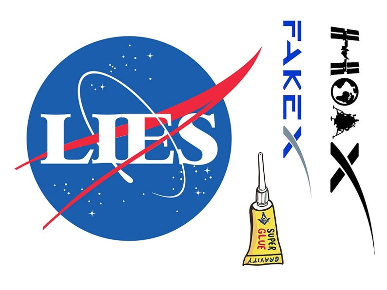 NASA LIES COLLECTION : 4 x Flat Earth Stickers Nasa Lies image 0