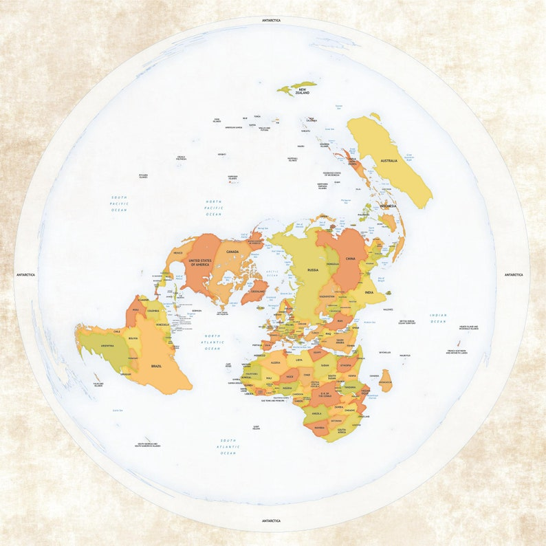 Flat Earth Map  Detailed Azimuthel Equidistant Map   Quality image 0