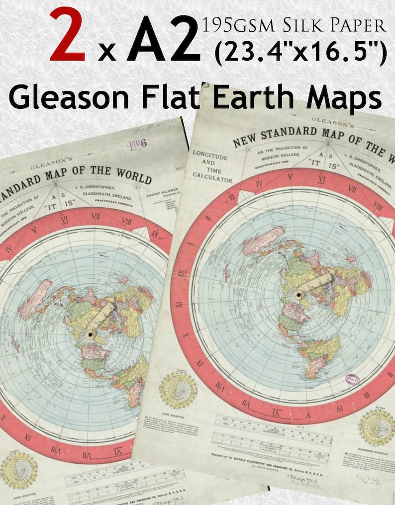 2 X A2 Gleason S New Standard Map Of The World 200gsm Etsy