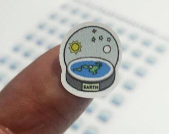 Mini Flat Earth Snow Globe Stickers (81 on A5 sheet)