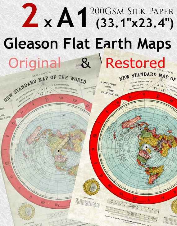 2 X Flat Earth Gleason Maps Original And Restored Version A1 Etsy